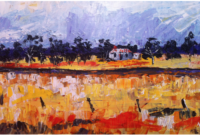 Painting by Narelle Huggins called Along the Track