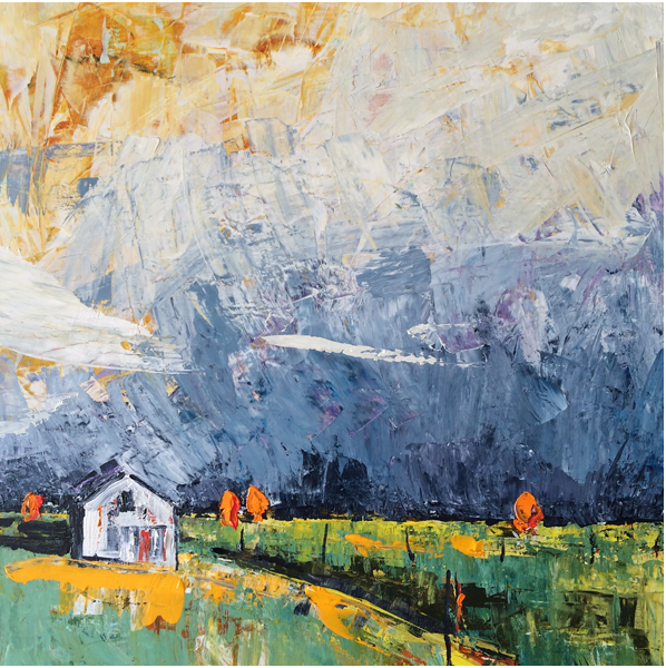 Painting by Narelle Huggins called Bright dark sky