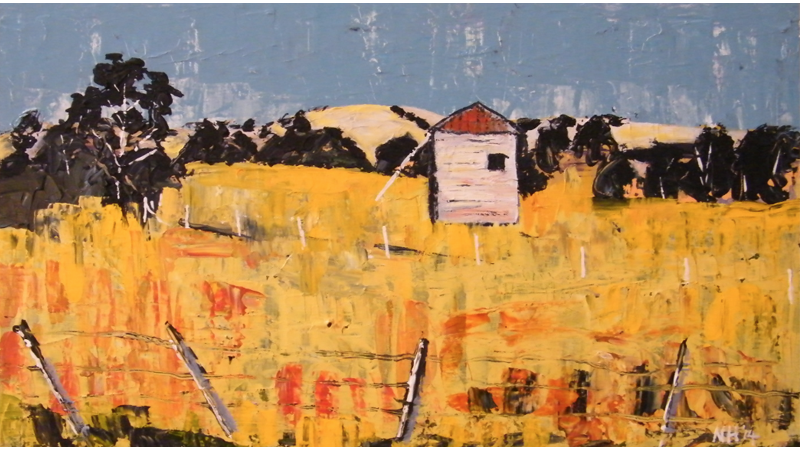 Painting by Narelle Huggins called Lone Shed