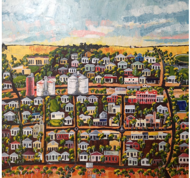Painting by Narelle Huggins called Tanya's Town