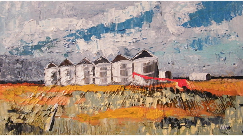 Painting by Narelle Huggins called Silos