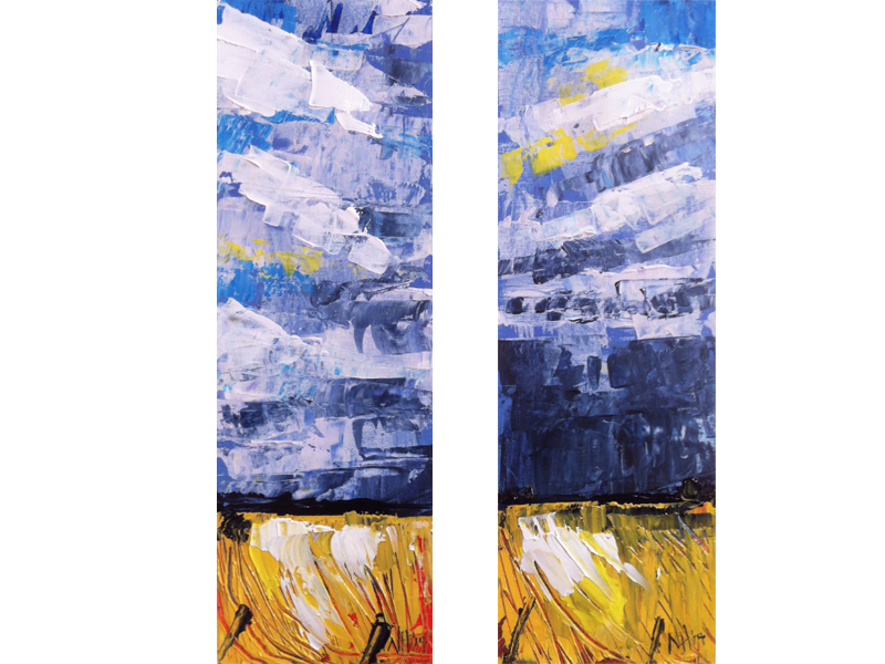 Painting by Narelle Huggins called Storm front dyptich