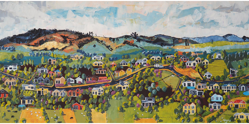 Painting of Maungakawa Village by Narelle Huggins