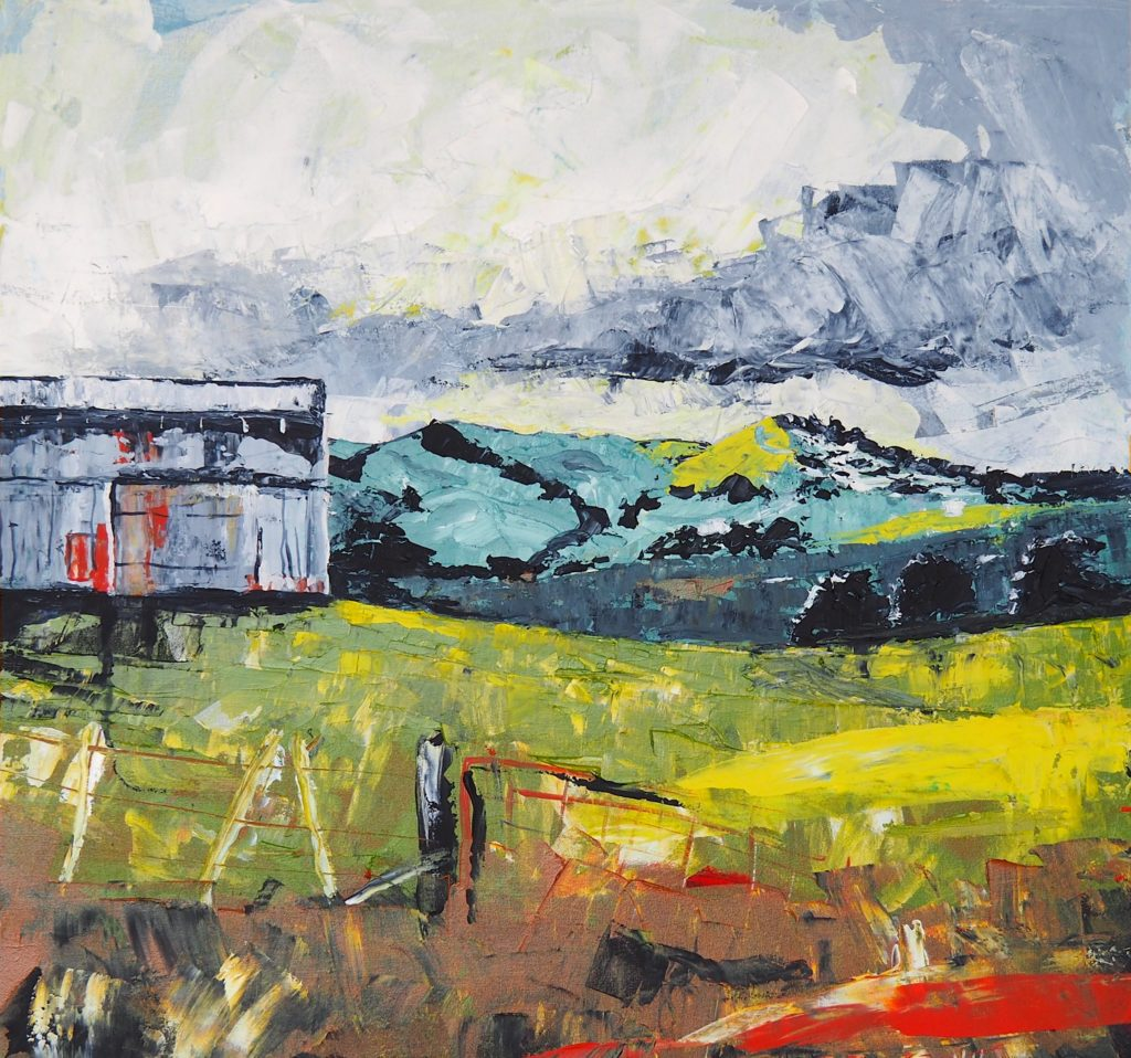 Painting by Narelle Huggins called the Aspin Shed