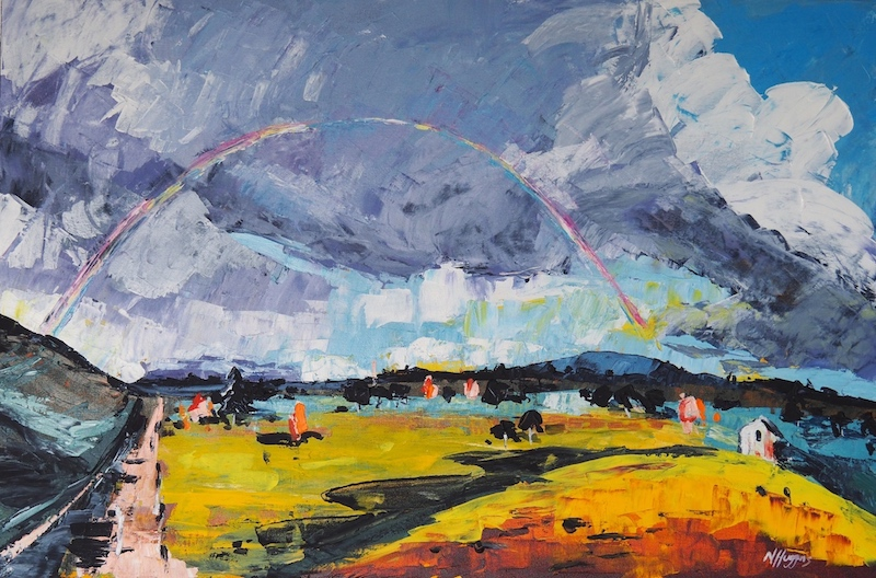 Painting by Narelle Huggins called Coming Home Rainbow