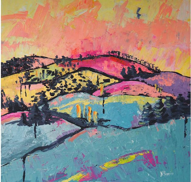 Painting called Ko Maunga by Narelle Huggins