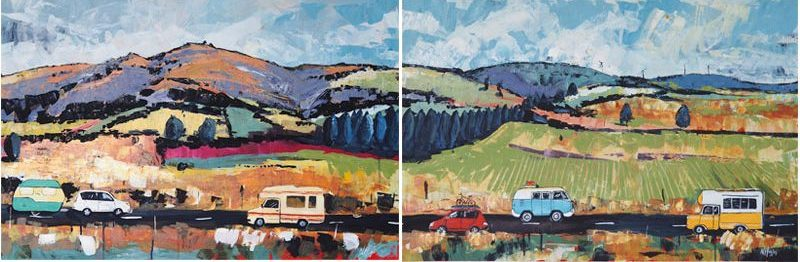 Road Tripping triptych by Narelle Huggins
