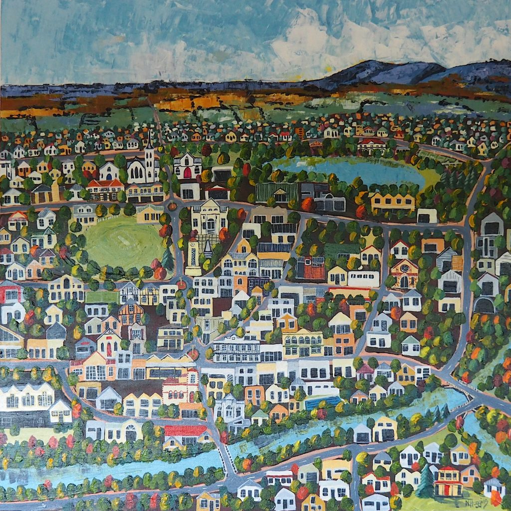 Painting called Cambridge across the river by Narelle Huggins