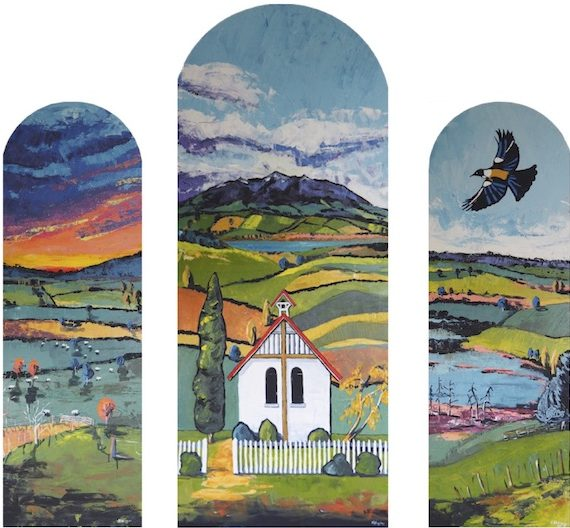 Painting by Narelle Huggins called Trinity triptych