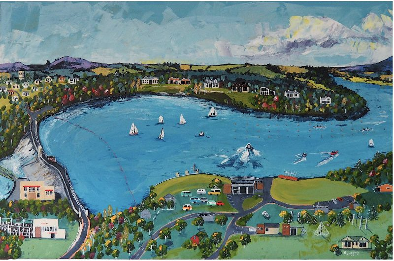 Painting of Lake Karapiro on a fine day by Narelle Huggins