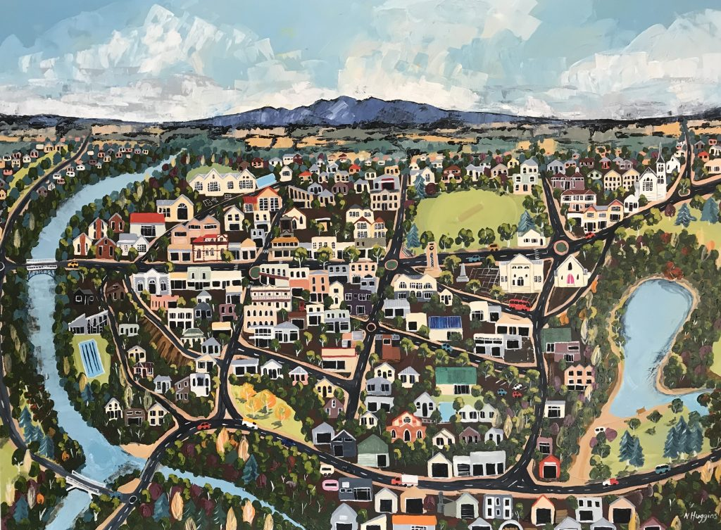 Painting of Cambridge on the Waikato by Narelle Huggins