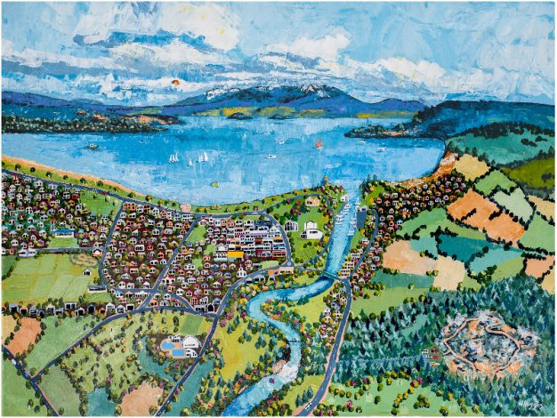Painting by Narelle Huggins called Taupo