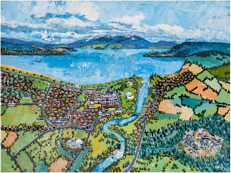 Painting of Taupo by Narelle Huggins