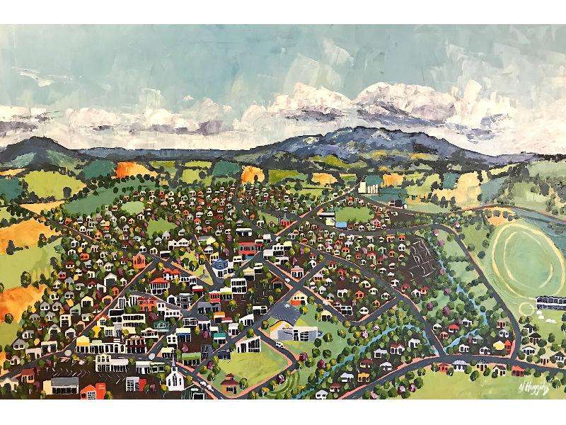 Painting of Te Awamutu by Narelle Huggins