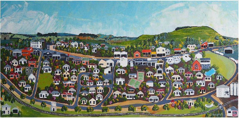 Painting of Tirau by Narelle Huggins