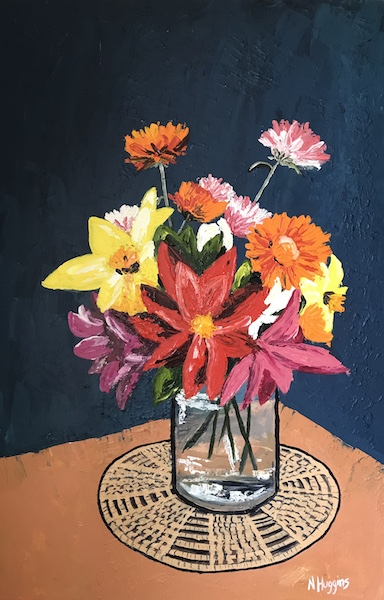 Still life painting of dahlias and daisies by Narelle Huggins