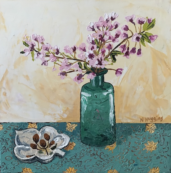 Painting by Narelle Huggins called Cherry blossom and the leaf bowl
