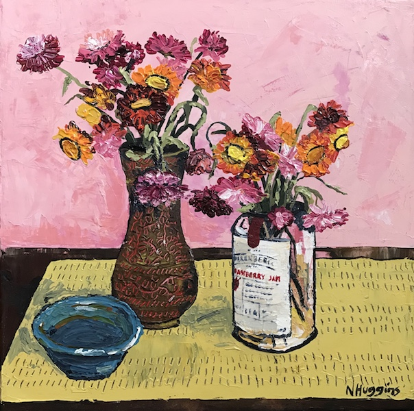 Painting by Narelle Huggins called Everlastings with the blue bowl