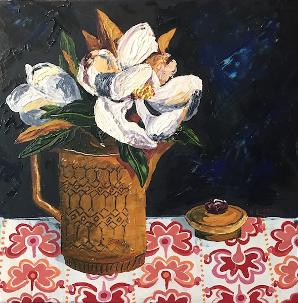 Painting by Narelle Huggins called Magnolia and the coffee pot