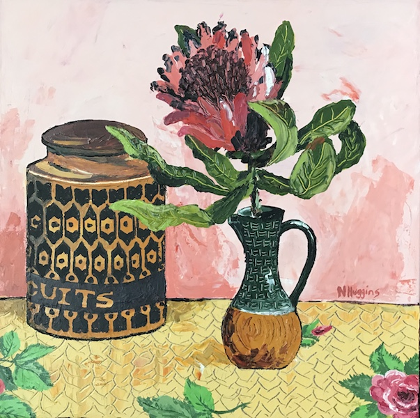 Painting by Narelle Huggins called Protea on the rosy tablecloth