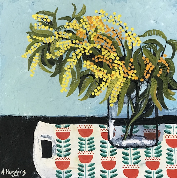 Painting by Narelle Huggins called Wattle on the tulip tray