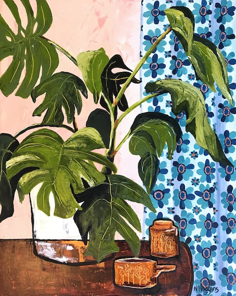 Painting by Narelle Huggins called Monstera with the new blue curtain