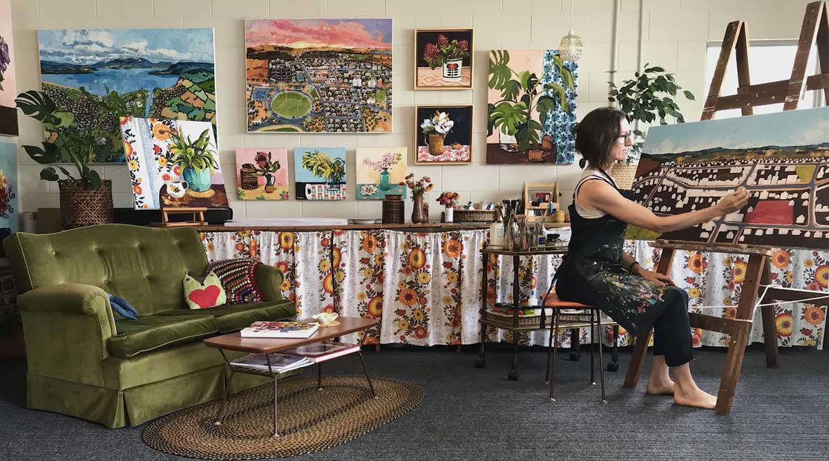 Narelle Huggins Artist in her Cambridge Studio