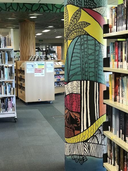 Mural by Narelle Huggins at Cambridge Library, Waipa