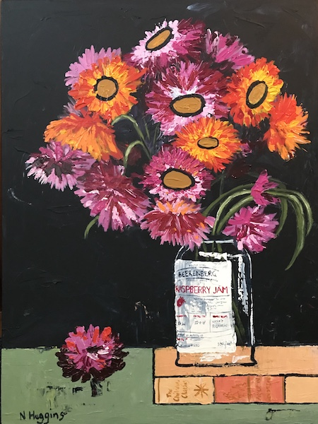 Painting by Narelle Huggins called Everlastings and the preserve jar