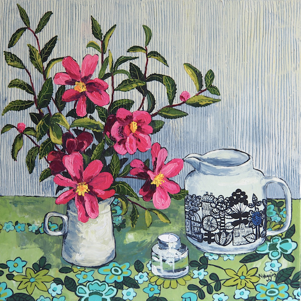 Painting by Narelle Huggins called Camellias with the Marimekko jug