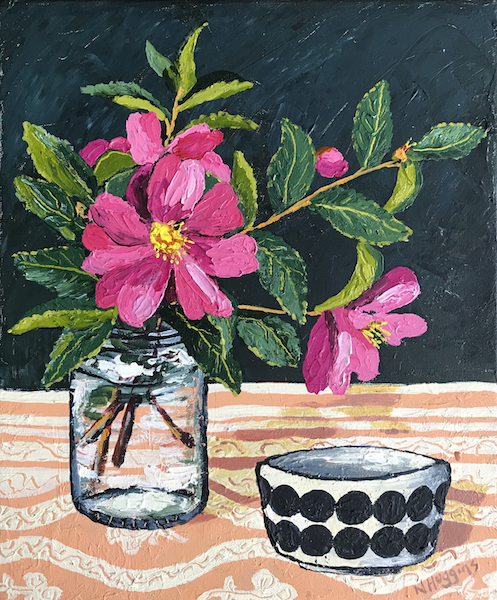 Painting by Narelle Huggins called Camellias with the Marimekko bowl