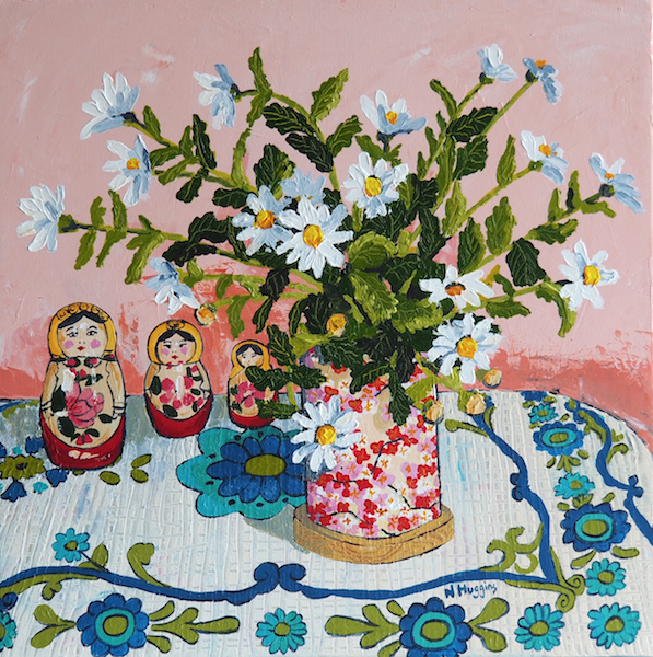 Painting by Narelle Huggins called Chrysanthemums with the Babushka dolls