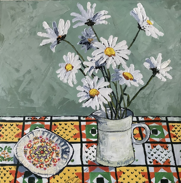 Painting by Narelle Huggins called Daisies and the milk jug