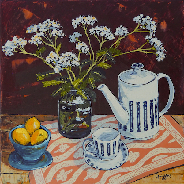Painting by Narelle Huggins called Field flowers with the Noritake tea set