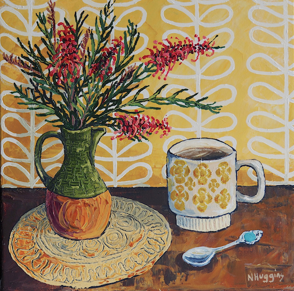 Painting by Narelle Huggins called Grevillia in the olive jug