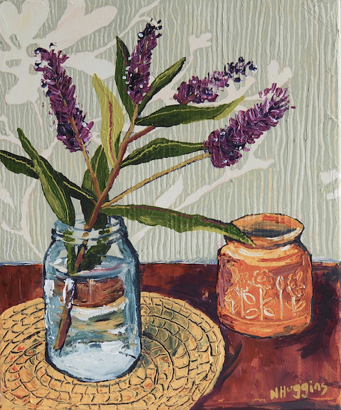 Painting by Narelle Huggins called Hebe with the New Zealand pottery