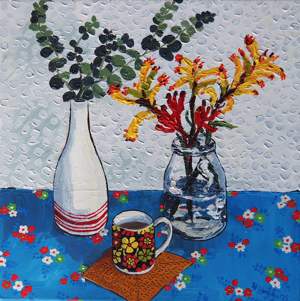 Painting by Narelle Huggins called Kangaroo Paw and espresso
