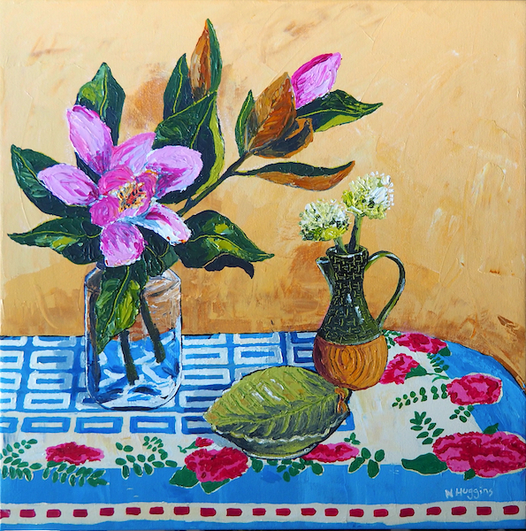 Painting by Narelle Huggins called Magnolias on the carnation cloth