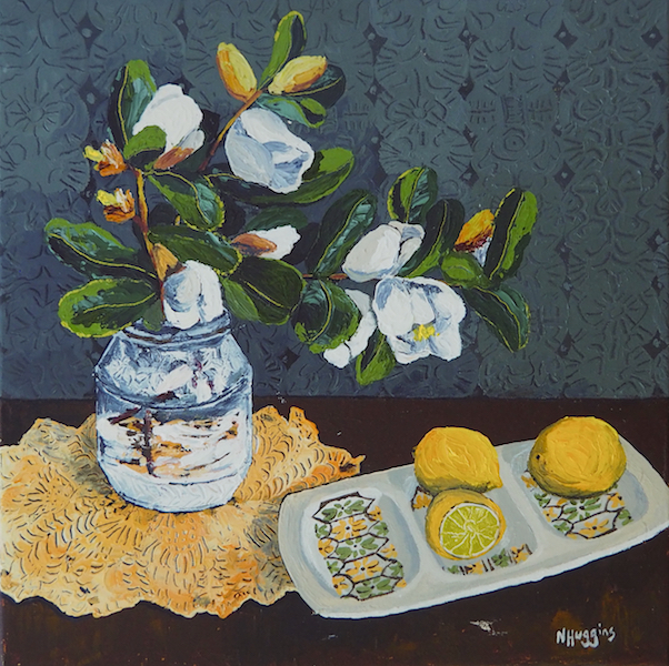 Painting by Narelle Huggins called Michelia and limes