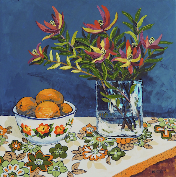 Painting by Narelle Huggins called Proteas with oranges