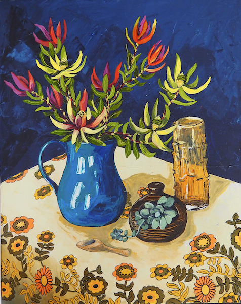 Painting by Narelle Huggins called Proteas with the amber vase