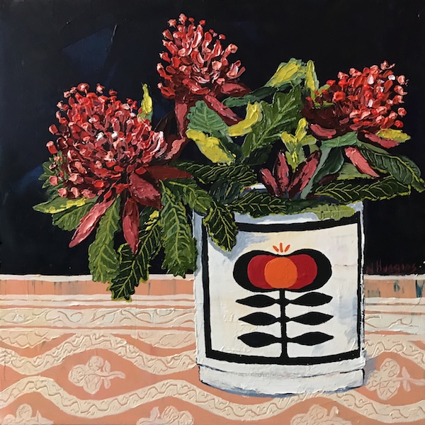 Painting by Narelle Huggins called Waratah and the canister