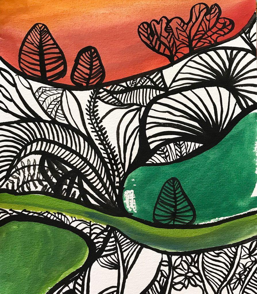 Orange jungle by Narelle Huggins